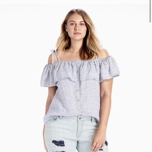 LUCKY BRAND Linen Space Dyed Cold Shoulder Top